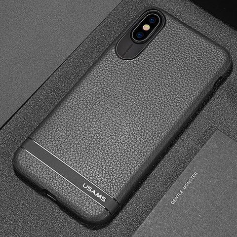 BestBuySale Cases TPU case for iPhone X with Litchi texture - Black,Red,Grey,brown,Blue