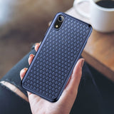 BestOnlineGrid Pattern Soft Silicone Case For iPhone XS/XS Max/XR - Blue,Black,Pink