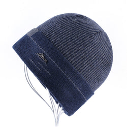 BestOnlineKnitted Winter Beanie For Men - Gray,Blue