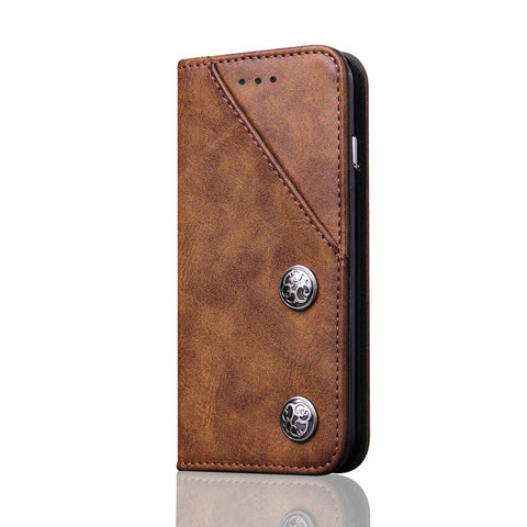BestBuySaleMagnetic Retro PU Leather Cover Case For iPhone X - Brown,Black,Blue,Red