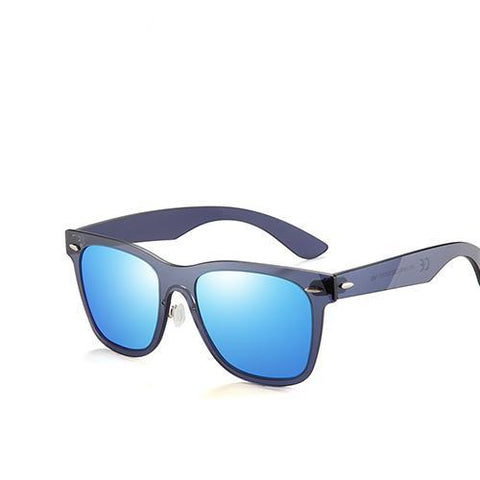 BestBuySaleFlat Lens Rimless Square Frame Polarized Sunglasses - Blue,Pink