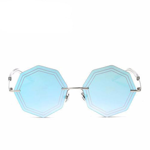 BestBuySale Women's Sunglasses Women's Fashion Rimless Sunglasses - Silver Blue, Gold, Pink,Silver,Brown