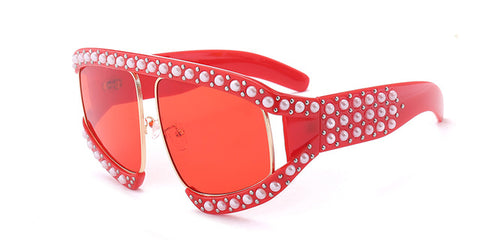 BestBuySale Women's Sunglasses Fashion Women's Summer Sunglasses With Pearl Rivets - Red,Black
