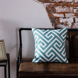 BestOnlineEmbroidered Blue Geometric Pillow Cushion Cover - 45x45cm - 10 Designs