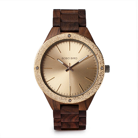 BestBuySaleMen's Wood Watch With Metal Face in Wooden Box - Champagne Gold,Space Gray
