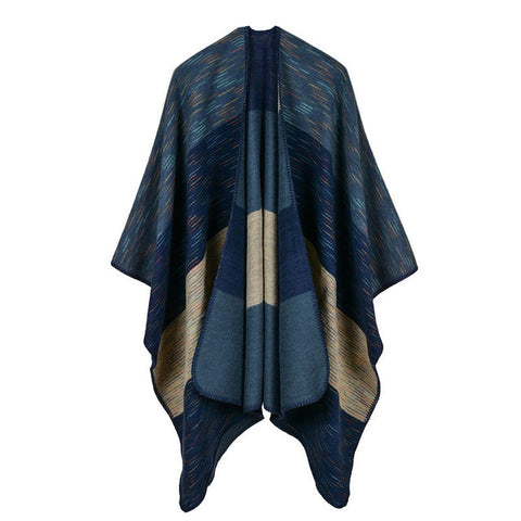 BestBuySale Poncho Scarves Women's Wide Stripes Fashion Poncho Scarf - 6 Colors