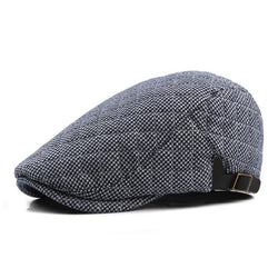 Beret HatOnlineUSA Classic Plaid Winter Beret Hat For Men - Dark Blue,Black and White,Black and Gray