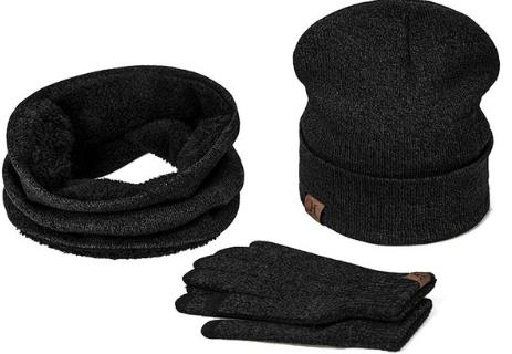 BestOnlineCollar Scarf + Gloves + Knitted Skullies Beanie Set or winter - Dark Grey,Rose Red,Coffee,Grey,Light Grey,Black