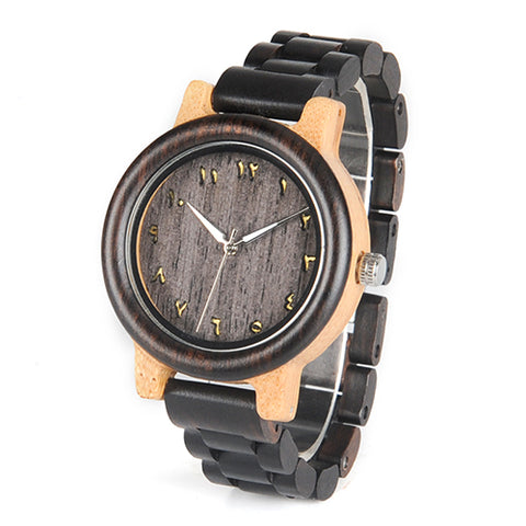 BestBuySale Wooden Watch Men's/Women's Couple's Arabic Numerals Ebony Band Wooden Watches in Gift Box