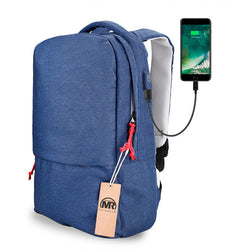 "BestBuySaleFashion Waterproof Backpack With External USB Charge for 15.6"" Laptop - Blue,Gray"