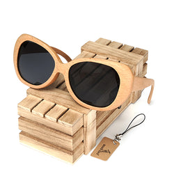 SunglassesOnlineUSA Fashion Polarized  Handmade Wooden Pilot Sunglasses With Wood Box Case