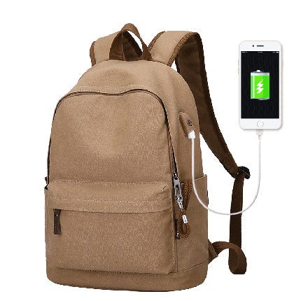 BestBuySaleAnti-theft Canvas Backpack With USB Charging For Teens/Travel - Blue Black/Khaki/Gray