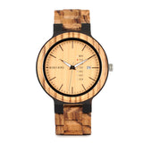 BestBuySaleHandmade Zebra Wood Watch for Men with Week Display