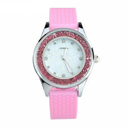 BestOnlineFashion Women's Diamonds Silicone Band Watches - White,Pink,Mint Green,Purple,Light Pink