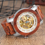 BestBuySaleWood & Steel Mechanical Skeleton Wooden Watch in Wooden Gift Box - Red,Black