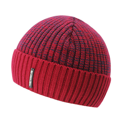 BestOnlineKnitted Winter Beanie Hats for Men with Velvet Interior - Red,Dark Gray,Black,Light Gray,Coffee,Blue