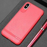 BestOnlineTPU case for iPhone X with Litchi texture - Black,Red,Grey,brown,Blue