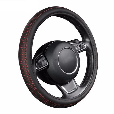 BestOnlinePu Leather Car Steering Wheel Cover With Red/Blue Dot