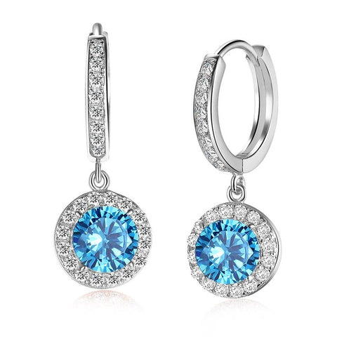BestOnlineWomen's Luxury Silver/Rose Gold Color Earrings with 1.8 Carat Ocean Blue Cubic Zirconia