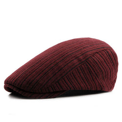 BestBuySaleRetro Men's Knitted Beret Hats - Khaki,Wine Red,Black,Dark Blue