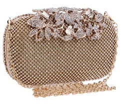 BestBuySale Clutch Bag Fashion Wedding Rhinestone Clutch Bag With Flower Crystal -Silver,Gold,Black