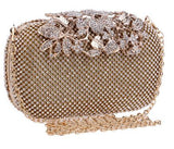 BestBuySaleFashion Wedding Rhinestone Clutch Bag With Flower Crystal -Silver,Gold,Black