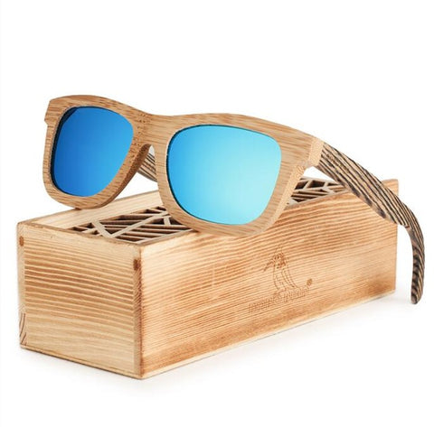 Polarized Square Wood Frame Sunglasses In Wooden Gift Box-Green,Blue,Y