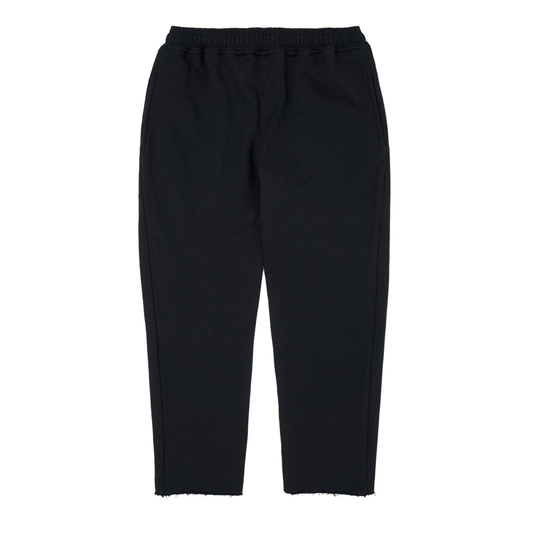 BLACK RAW HEM CROPPED PANTS