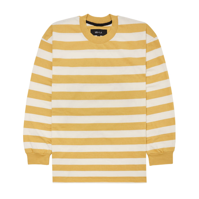 MUSTARD/BONE STRIPED LONGSLEEVE TEE
