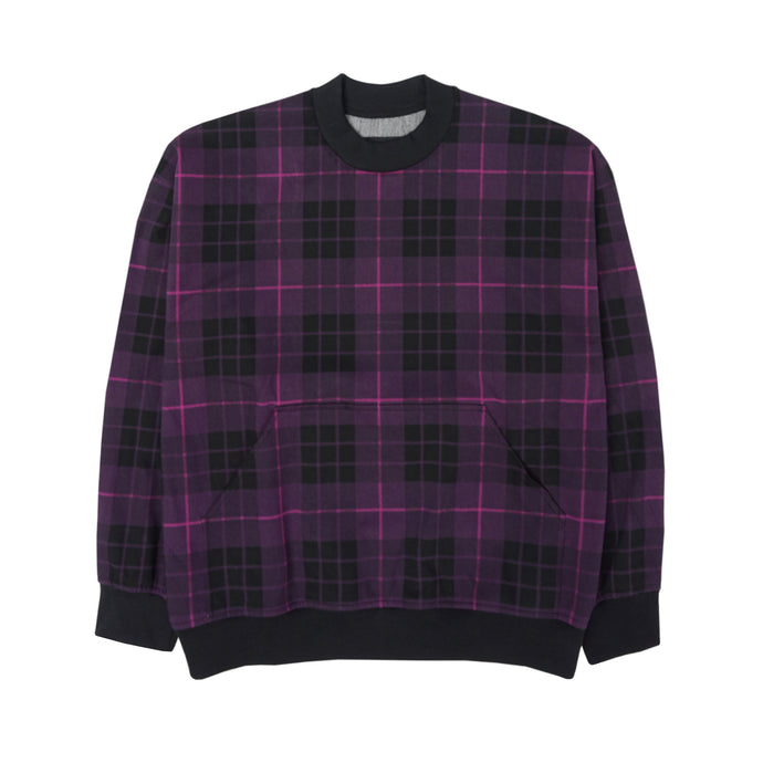 PURPLE/BLACK TARTAN OVERSIZED SWEATSHIRT