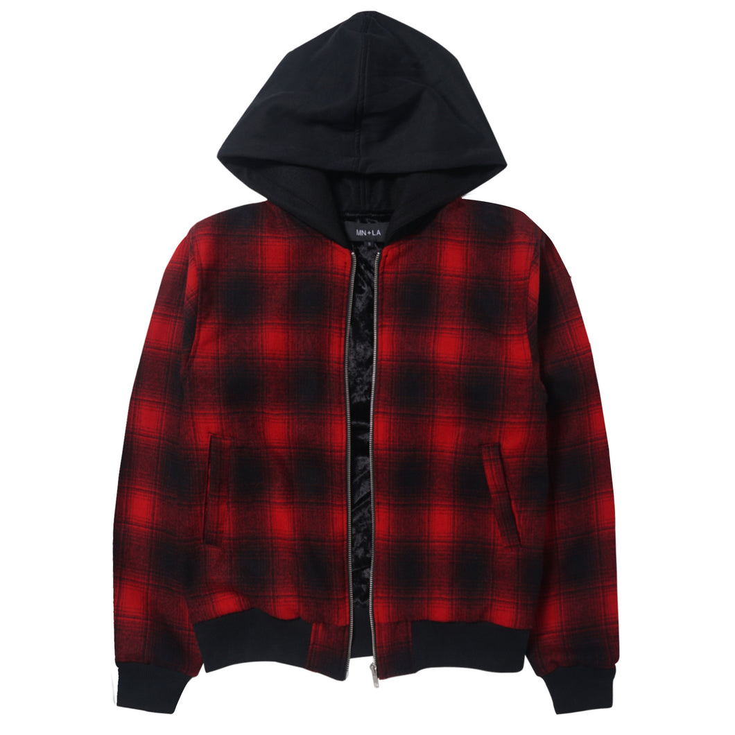 PLAID ZIP HOODED JACKET
