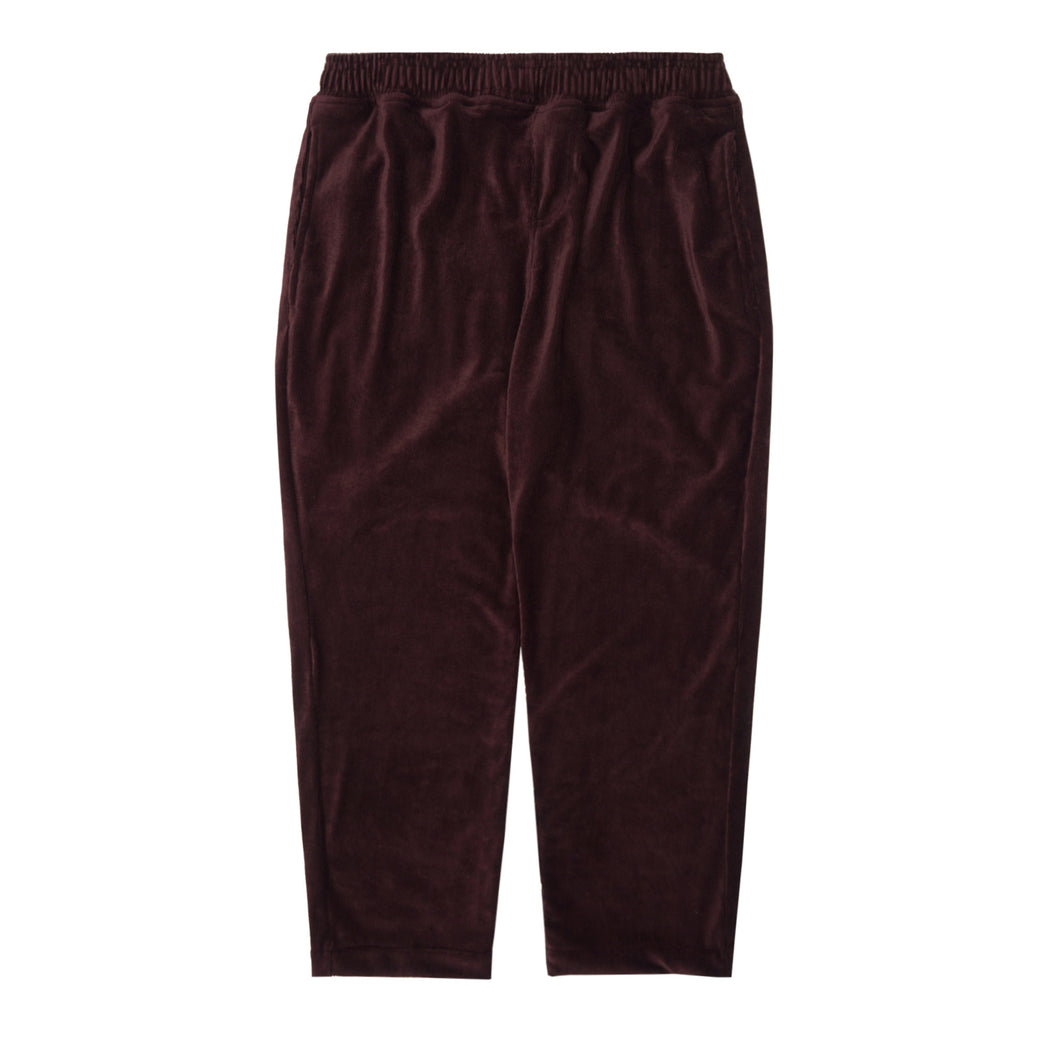 WINE VELOUR CORDUROY CROPPED PANTS