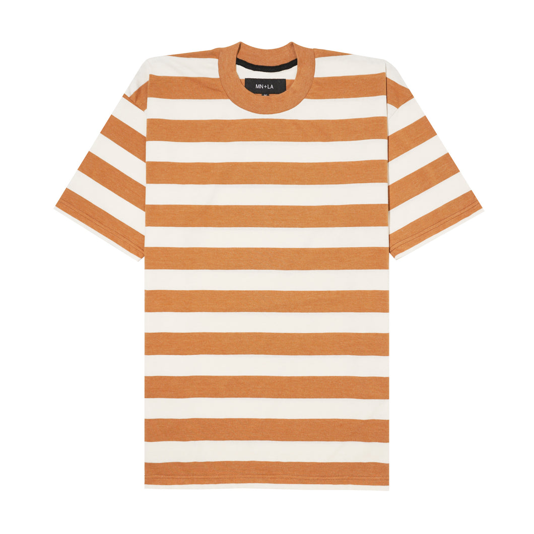 CARAMEL/BONE STRIPED BOX TEE