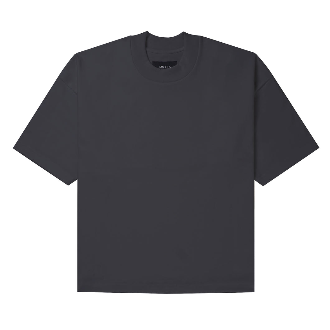 ULTRA HEAVY CHARCOAL GREY MOCK NECK TEE
