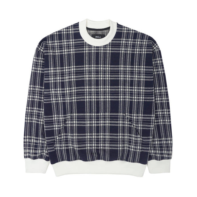 INDIGO PLAID KNIT OVERSIZED SWEATSHIRT