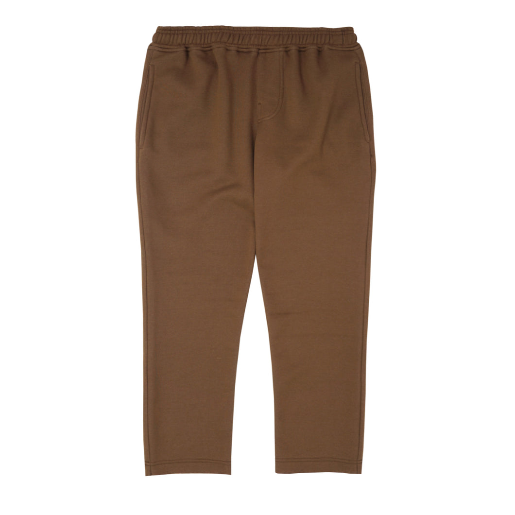 BROWN RAW HEM CROPPED PANTS