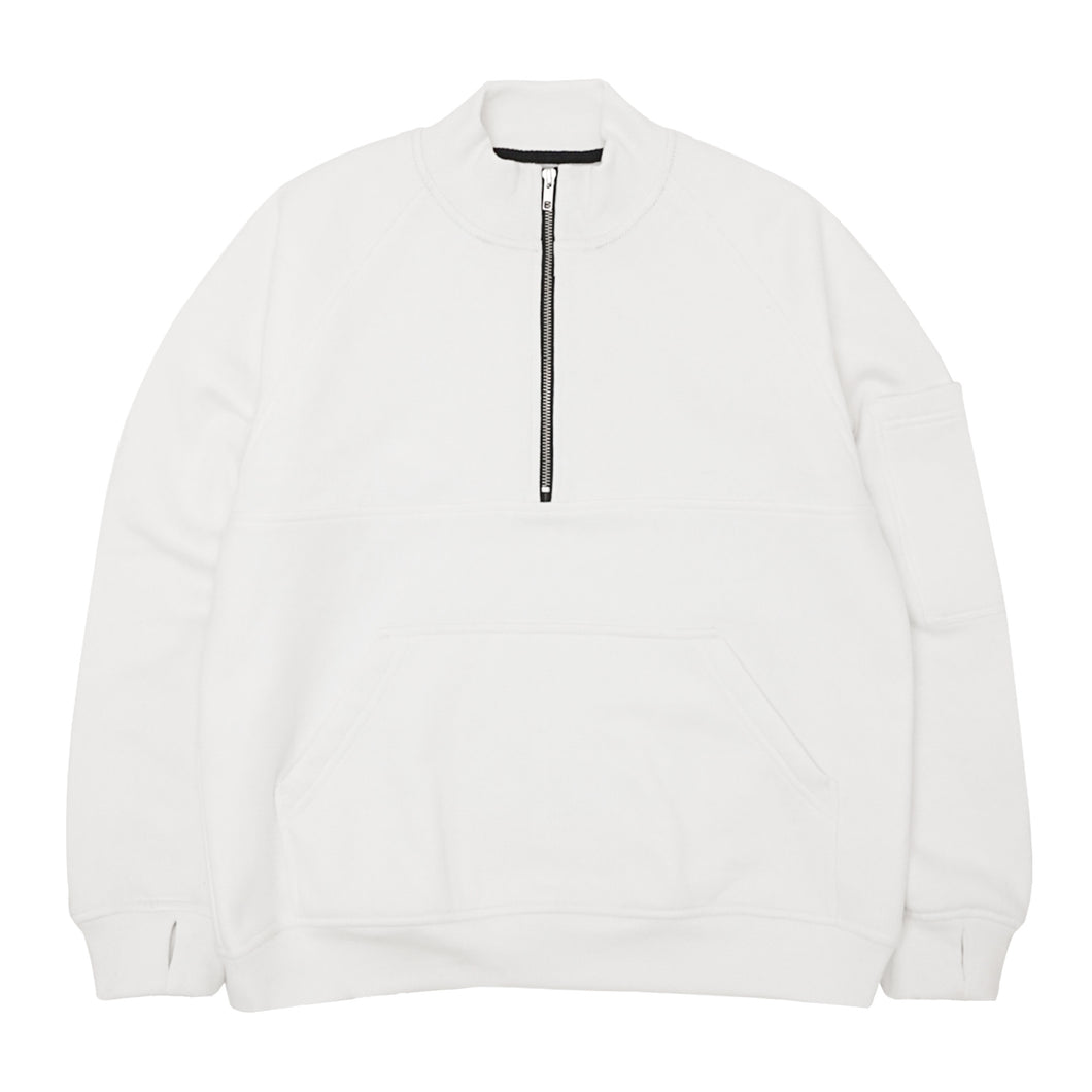 QUARTER ZIP SWEATSHIRT IN WHITE