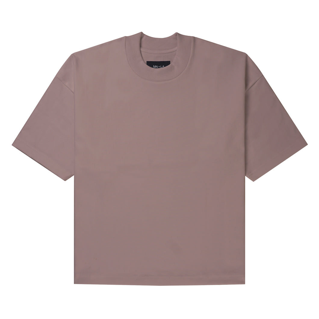 ULTRA HEAVY MAUVE MOCK NECK TEE
