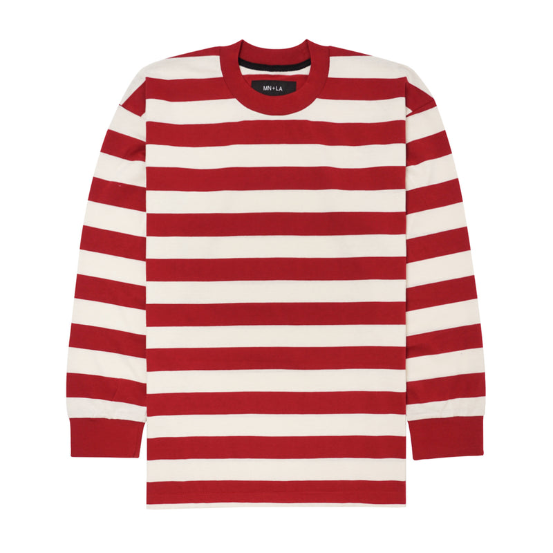RED/BONE STRIPED LONGSLEEVE TEE