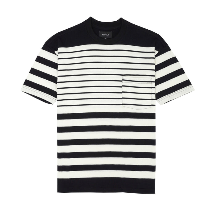 BLACK/BONE STRIPED POCKET BOX TEE
