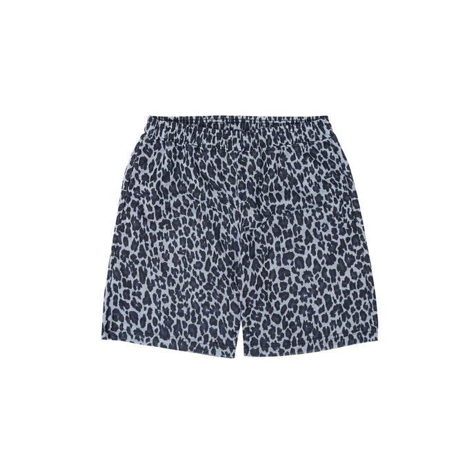 NAVY CHEETAH RAW HEM SHORTS
