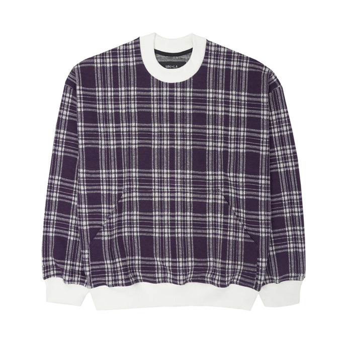 GRAPE PLAID KNIT OVERSIZED SWEATSHIRT