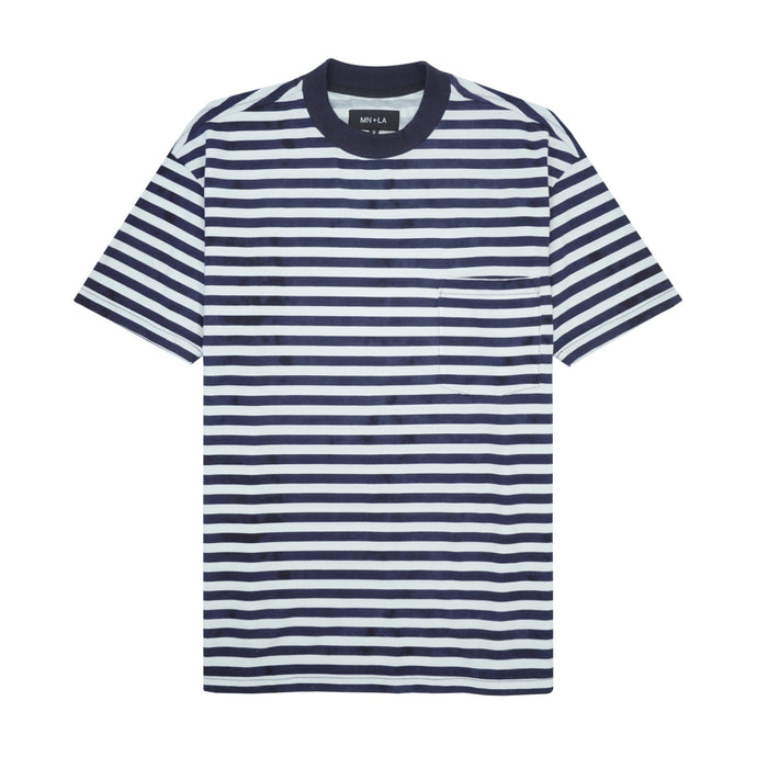 NAVY/WHITE STRIPED POCKET BOX TEE