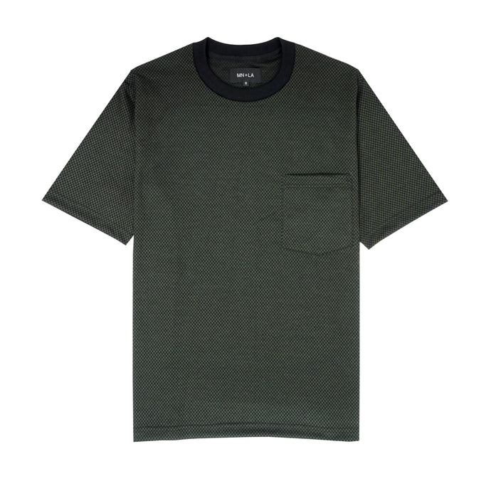OLIVE CHECKERBOARD POCKET TEE