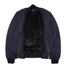STRIPED NAVY BOMBER JACKET