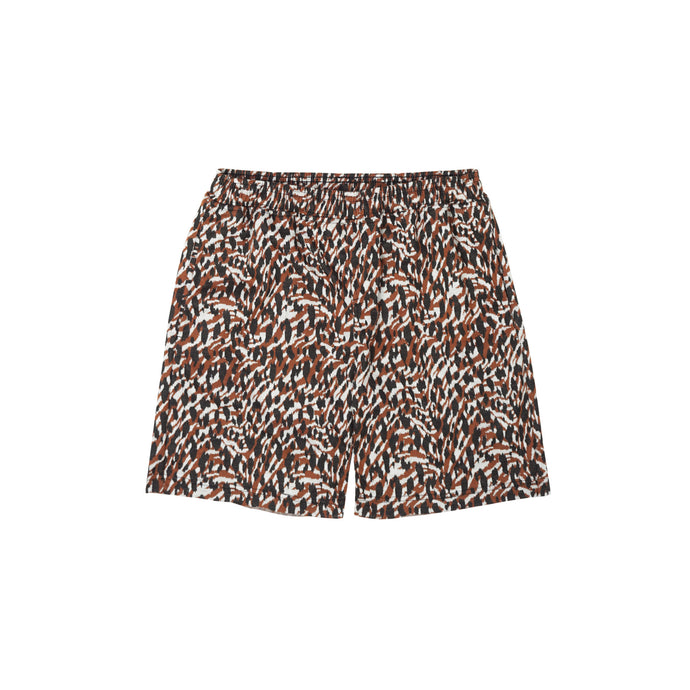 RUST CHEETAH RAW HEM SHORTS