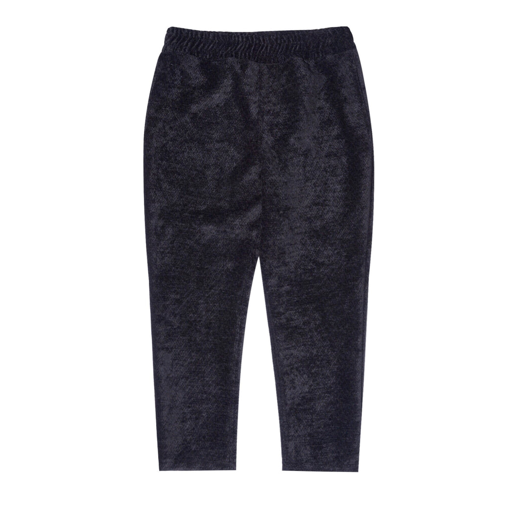 BLACK CORDUROY CROPPED PANTS