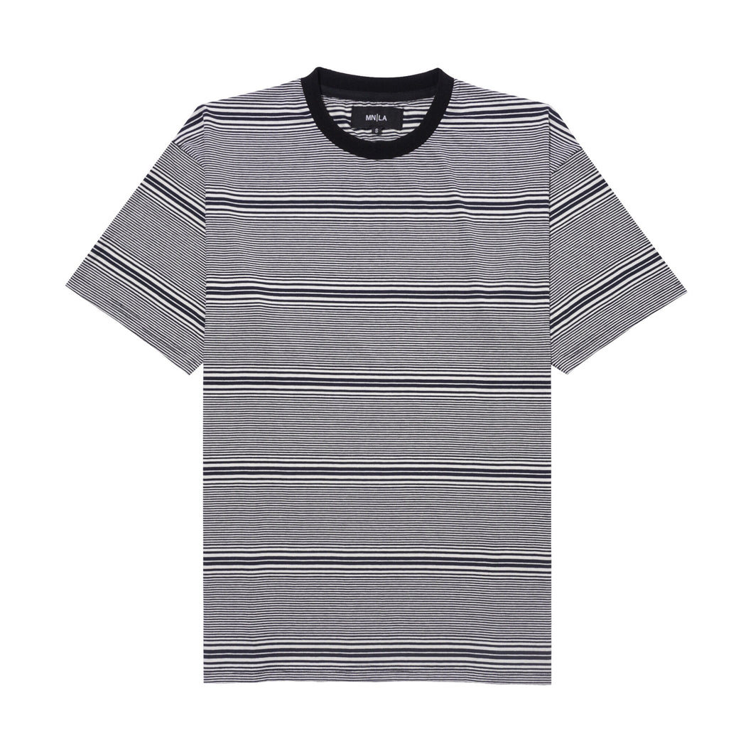 NAVY/OAT PINSTRIPED BOX TEE