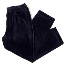 NAVY VELOUR CORDUROY CROPPED PANTS