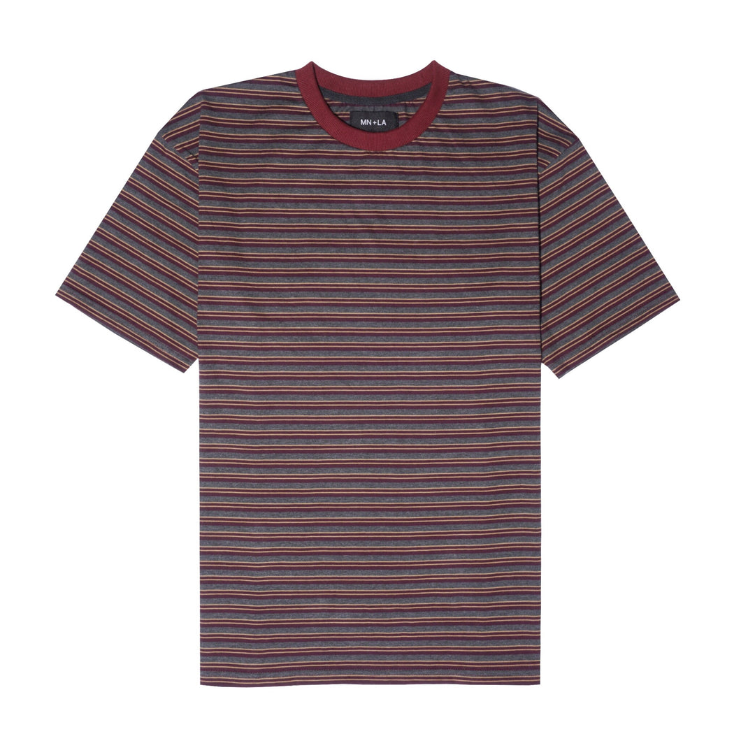 RED/GREY STRIPED BOX TEE